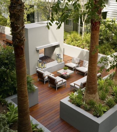 modern outdoor balcony with palm trees