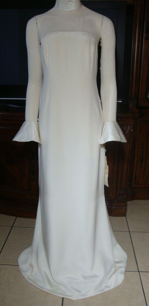 9527cf4556fb Vera Wang Wedding Gown NWT Sexy Sheer Back Ivory DRAMATIC Bell Cuffs Silk  Satin