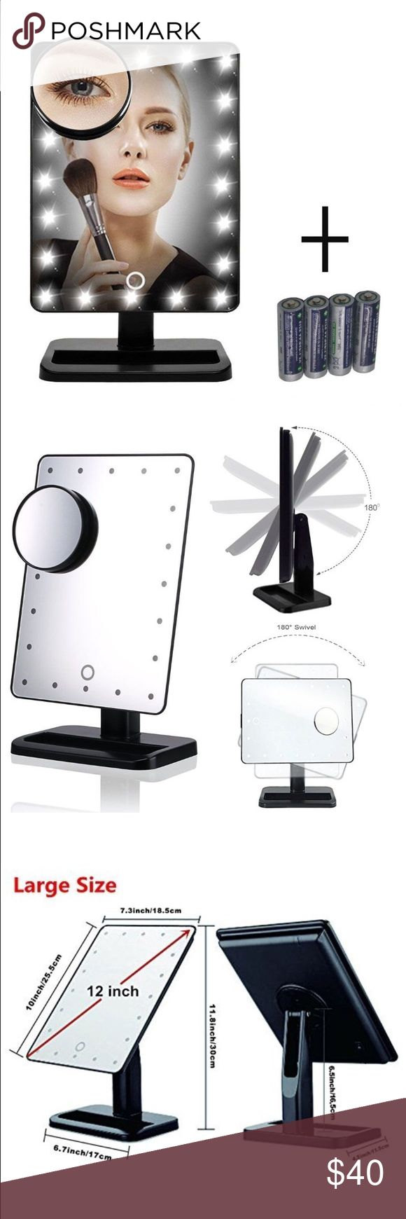 Glamor Rotate LED Makeup Mirror Built-in 20pcs adjustable LED lighted allow you to do your make-up in the dark or poorly lit areas. Batteries Included! With long service life. 4 AAA batteries included  10X Magnification Spot Mirror: Make sure every detail of your hair and makeup are in place, 180 Free Rotation Movable: Can fix at any position to give you the perfect viewing angle.  ON/OFF Switch: Controlled by touch sensor switch on the mirror, turning LED lights on/off whenever you want…