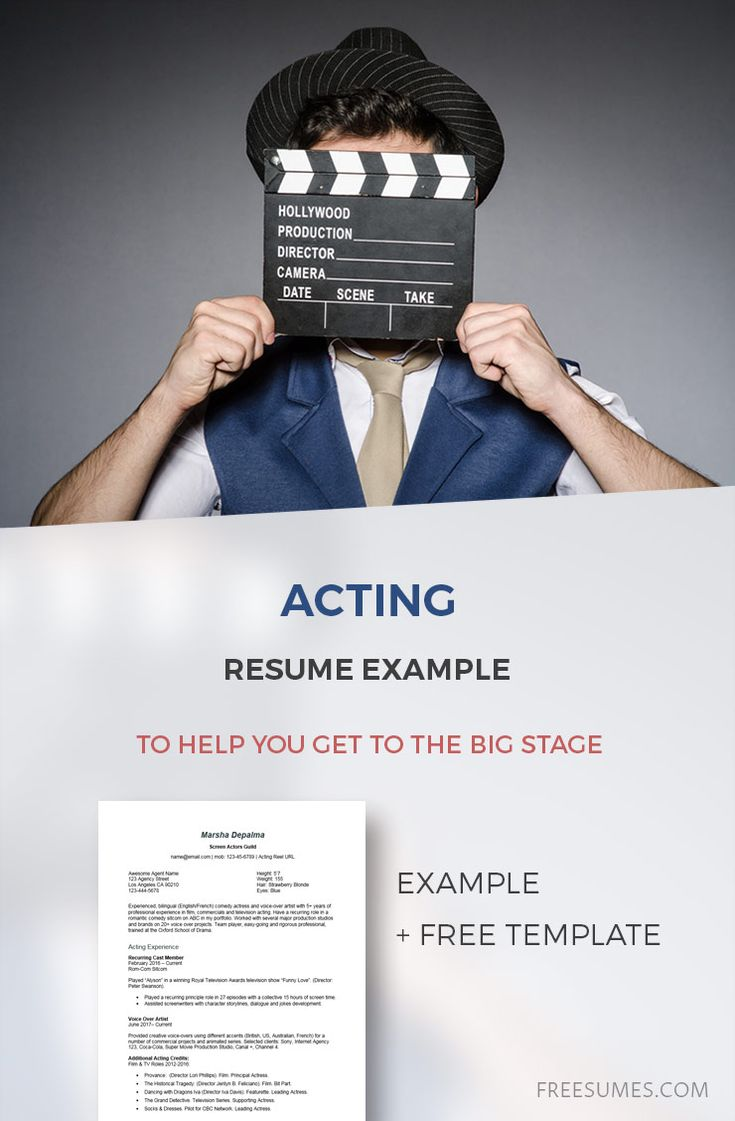 An acting resume example to help you get to the big stage