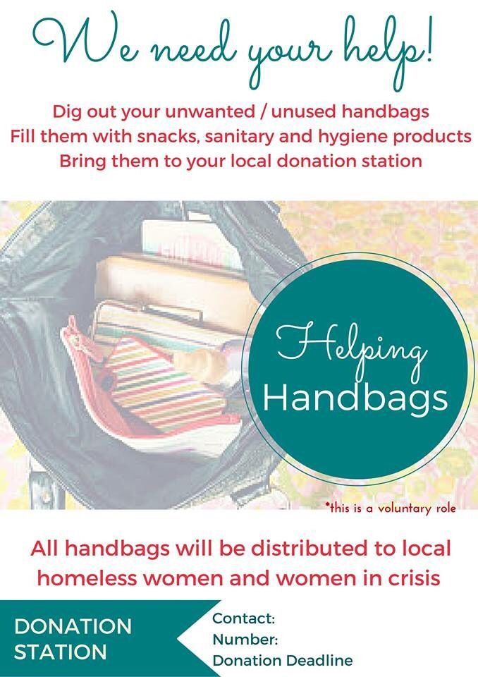 Do you have a used handbag that you no longer want & could donate to a very worthy cause?  Here at Helping Handbags Worldwide, it's our mission to donate as many bags to as many women as possible.   All you need to do is: 1 - take used bag 2 - fill with personal care products, sanitary items, snacks, magazines etc 3 - take to your local 'Donation Station  For more info, go to https://www.facebook.com/groups/HelpingHandbagsWorldwide/