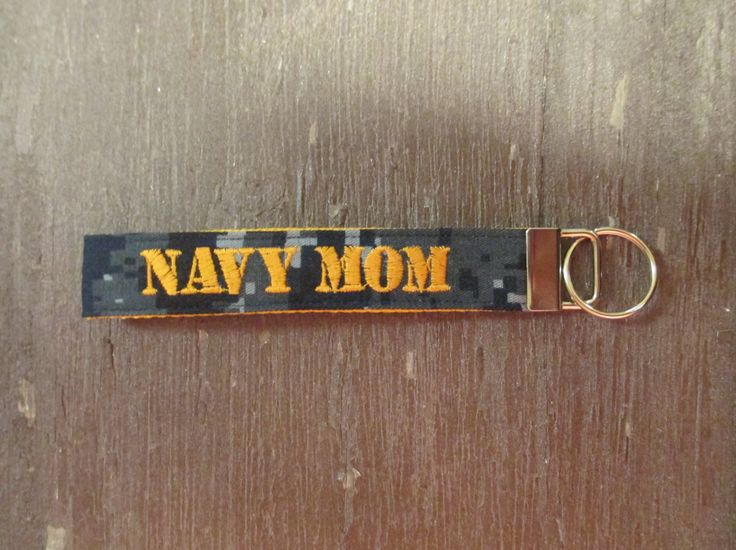 Navy Mom Name Tape Key Chain, Navy Mom Military Keychain, Navy Mom Key Fob by MilitaryApparelCo on Etsy