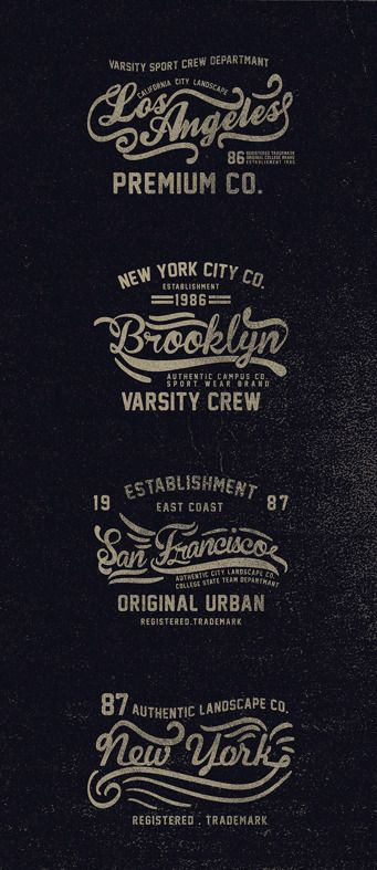 Typography white on black | Los Angeles, Brooklyn, San Francisco, New York