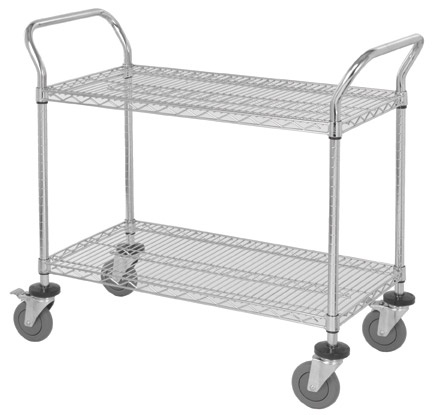 """Wire Cart On Wheels 18"""" X 36"""" With 2 Shelves - High Quality Utility Rolling Cart: Justshelfit.com sells affordable and high quality wire carts with wheels, including this 18"""" X 36"""" utility wire cart on wheels with 2 shelves. Price$138.00"""