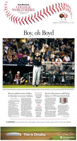 This is sweet. I feel this is so effective because of how powerful the photo is and just adding the seams of the baseball at the top just pulls you in even more. This would be phenomenal if traditional columns ran underneath the photo with no disruptions except maybe a pull quote in the dead center. This layout is good, but it could be phenomenal. I believe a designer for Uncaged could perfect this and execute this layout really well. Spartan well.
