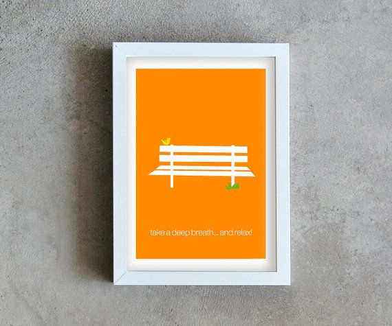 Orange print art, park bench poster, take a deep breath and relax, bird print art, ispirational quote on Etsy, $16.84