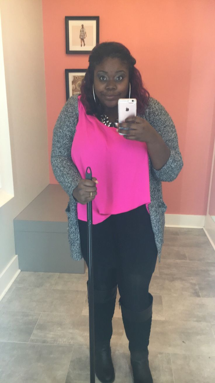 Work ootd: grey cardigan + pink hi-low blouse + black mini skirt + statement necklace #Torrid