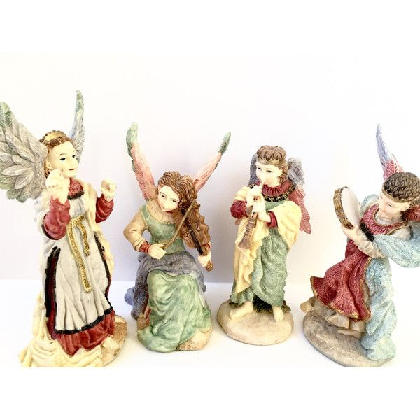 A Band Of Angels Resin Figurines Vintage 1993 Holiday Decorations... ($34) ❤ liked on Polyvore featuring home, home decor, holiday decorations, resin angel figurines, angel figure, music figurines, music home decor and angel figurines