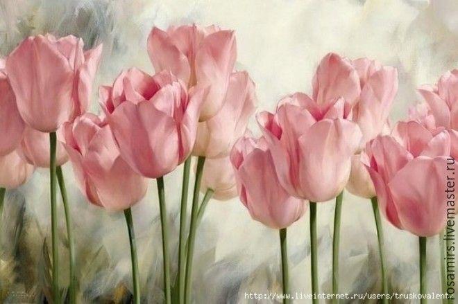 Купить Розовые тюльпаны - розовый, картина в подарок, картина с цветами, картина на холсте, картина в спальню