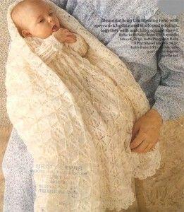 Stunning Baby Christening robe and Shawl- Knitting pattern in 3ply- Pingouin ...