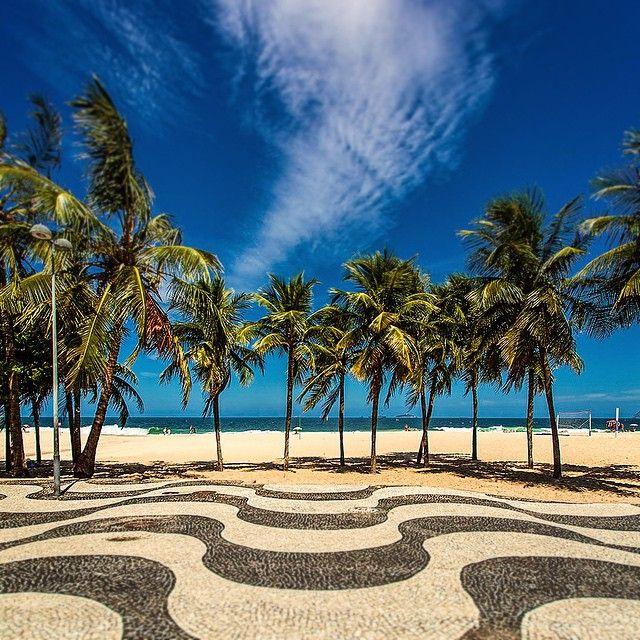 Copacabana beach portuguese stones sidewalk mosaic @ Rio de Janeiro, Brasil