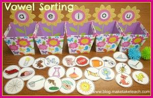 FREE colorful short vowel pictures for sorting.