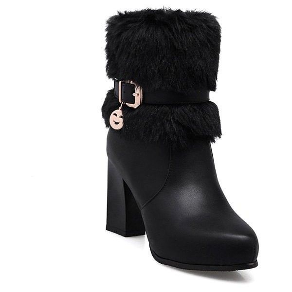 Buckle Pandent Faux-Fur Ankle Boots ($36) ❤ liked on Polyvore featuring shoes, boots, ankle booties, bootie boots, faux fur boots, buckle ankle booties, faux fur bootie and buckle booties