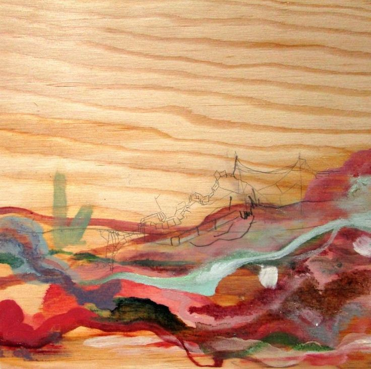 Jessica Esther Hoflick 'Red Landscape' Oil and pencil on plywood #painting