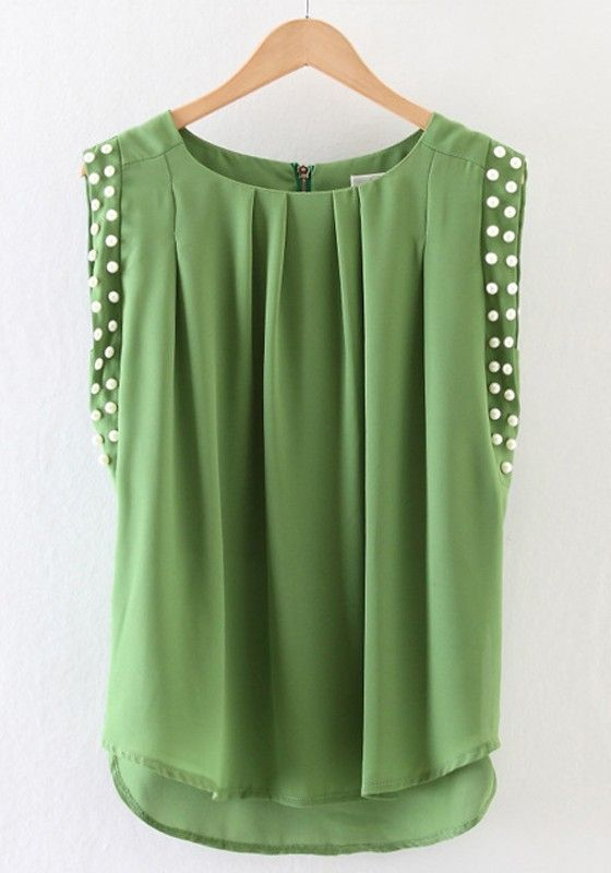 Green Plain Beading Pleated Chiffon Blouse