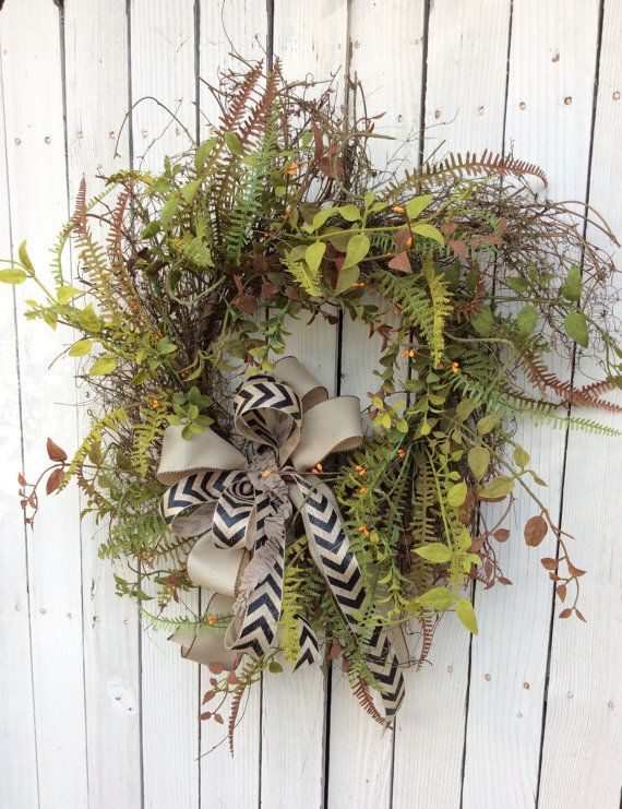 Double Door WreathGreen Wreathfall Wreath Everyday By Keleas Summer WreathSpring WreathsFront