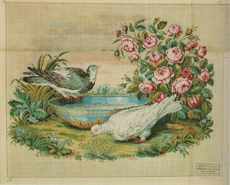 Berlin WoolWork Birds & Roses Pattern