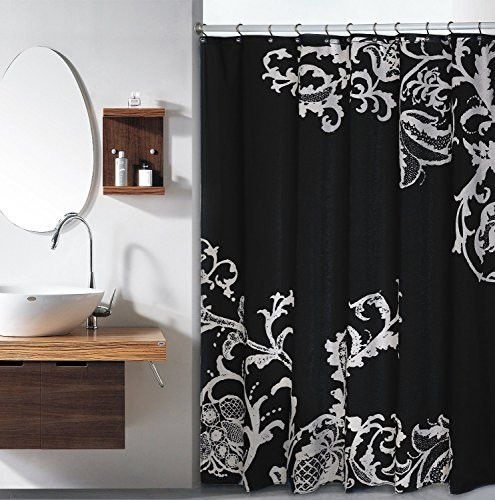 Royal Bath Isabella F S Large Floral Shower Curtain Black Silver CurtainsBlack SilverShowersOutlet Store