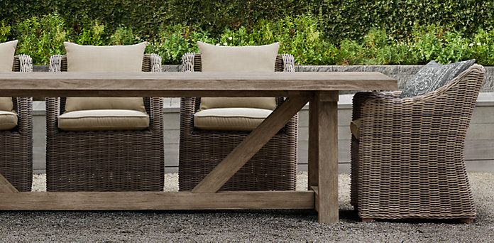 French beam weathered teak dining restoration hardware for Restoration hardware outdoor dining