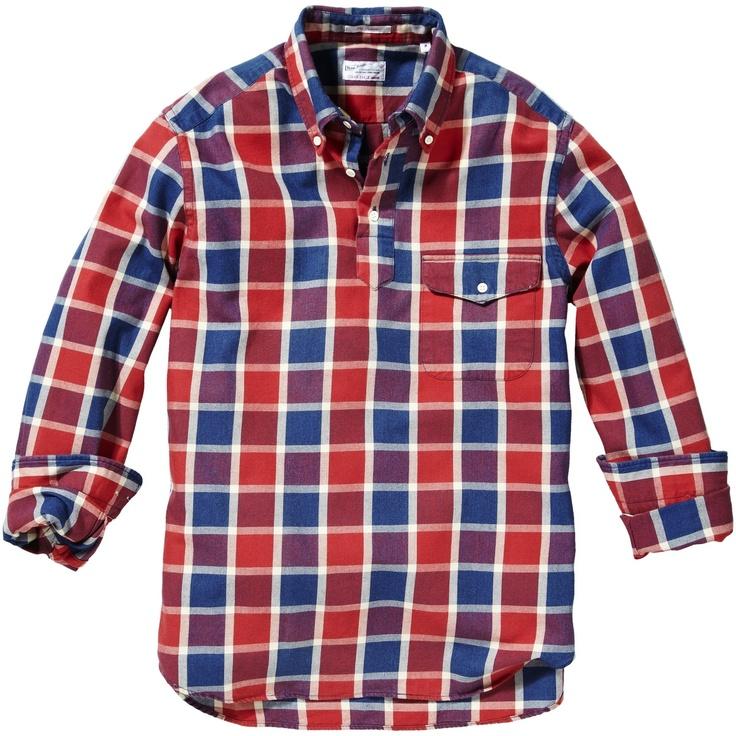 GANT Indigo Twill Check Pullover -- Blue, Red, and Purple