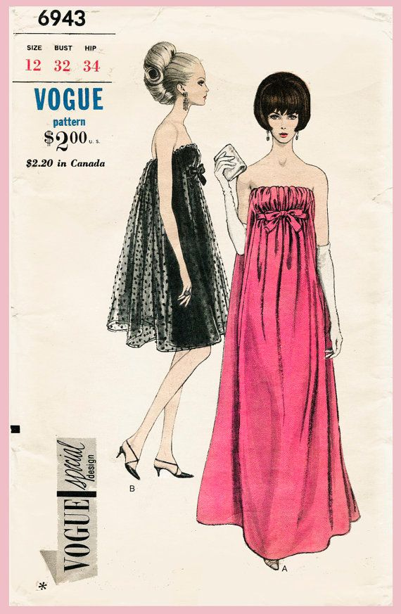 vintage Vogue sewing pattern 1960s 60s evening cocktail dress Mad Men empire…