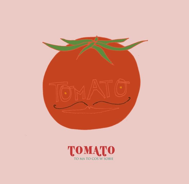 #tomato #pink #illustration #healthy #food #veg #funny #lovely #sweet #mustache #kitchen   Tomato / to ma to coś w sobie / by Taki Trik