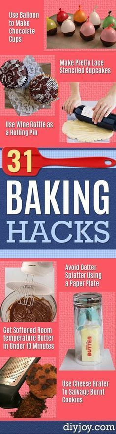 Best Baking Hacks - DIY Cooking Tips and Tricks for Baking Recipes - Quick Ways to Bake Cake, Cupcakes, Desserts and Cookies - Kitchen Lifehacks for Bakers http://diyjoy.com/baking-hacks