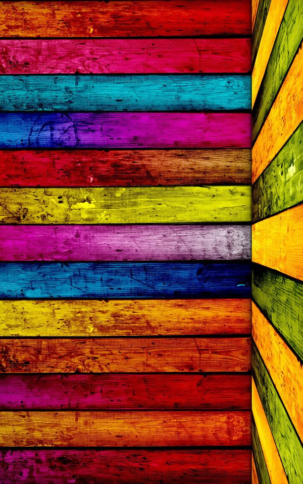 Wood boards in raimbow colors