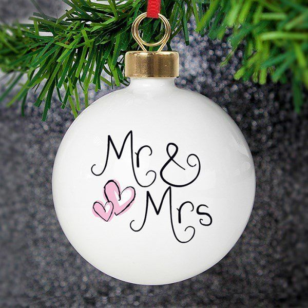 Personalised Mr Mrs Christmas Tree Decoration This beautiful china bauble makes the perfect gift for any newlyweds you may know Mr Mrs is standard