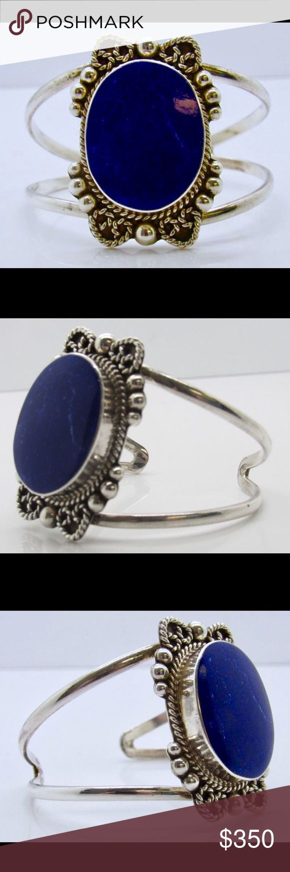 """💙Vintage Taxco Lapis Lazuli Sterling Silver Cuff 💙Vintage Taxco Lapis Lazuli Sterling Silver Cuff Bracelet💙 This cuff is a siren's call of immeasurable beauty. Circa the 1930's, it is stamped """"Mexico"""" and """".925"""", it is signed by the Taxco artisan with the hallmark, TO-15. It measures 5 3/8"""" on the inside end to end with an opening gap of 1 1/8"""" gap-1 3/4"""" max width. The fabulous Lapis stone that is the heart of the this masterpiece measures 30 mm x 23 mm. The weight of the cuff is 41.7 g…"""