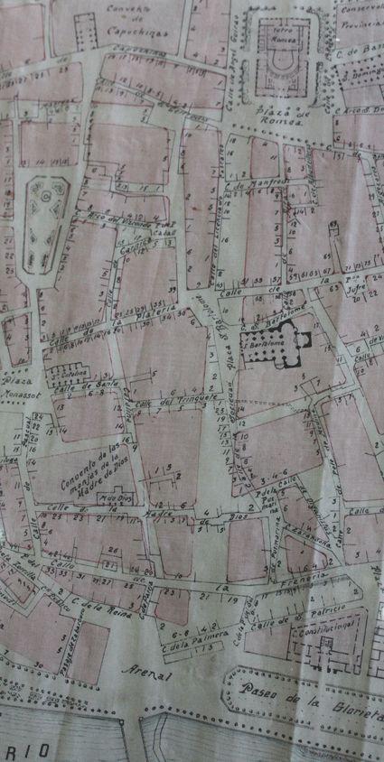 Fragmento del plano. Proyecto de lineación y ensanche de calles de Murcia.   José Antonio Rodríguez, 14 de febrero de 1920. Fuente: Archivo Municipal de Murcia (AMM), Planero
