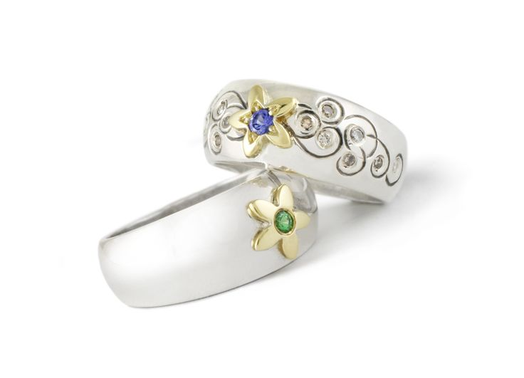 Handmade Argentium Silver & Yellow Gold Engraved Daisy Domed Rings Set With Colored Gemstones