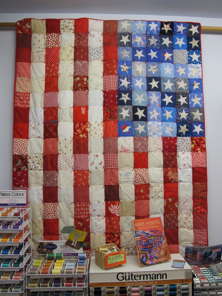 American flag quilt, Pieced top with hand appliqued stars