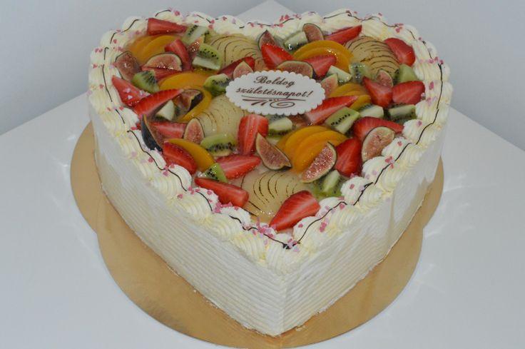 Heart shaped fresh fruit & cream