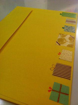 マスキングテープでプレゼントボックス風のカードアレンジ方法