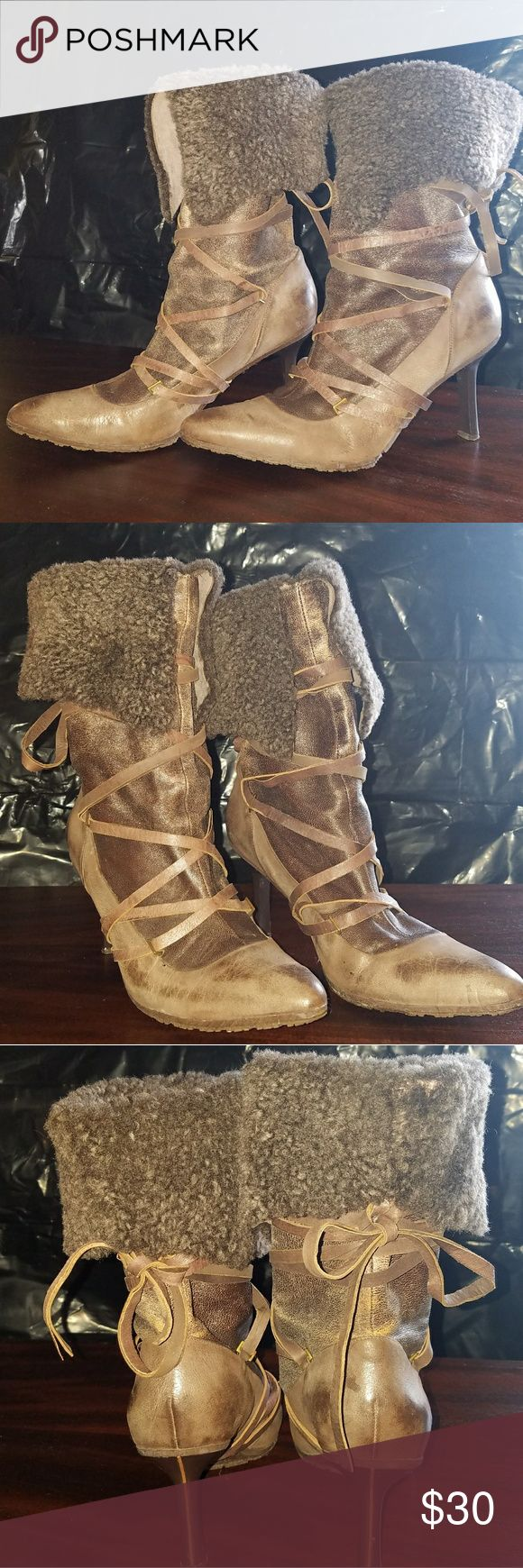 """Unique pair if Diesel lace up boots Cool pair of Diesel boots with fur & lace - they do have some damage, shown in pictures, but not noticeable when wearing. 3.5"""" heel Diesel Shoes Heeled Boots"""