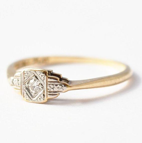 Bague de fiançailles antique Art Deco Diamond Solitaire 9k or & platine Engagement mariage taille 7,25