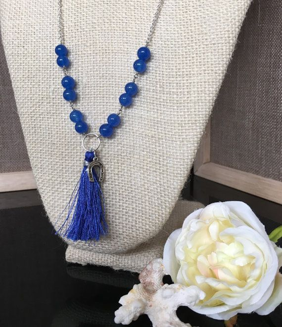 Blue  Tassel Necklace  Long Tassel Necklace by GreenGeckoJewellery
