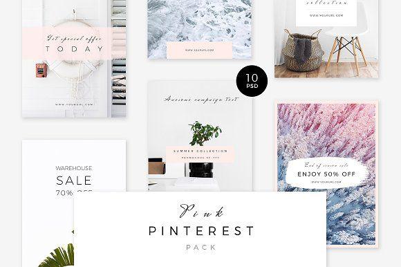 Beautiful Pinterest templates! #gettraffic Pink Pinterest Pack by Swiss_cube on @creativemarket