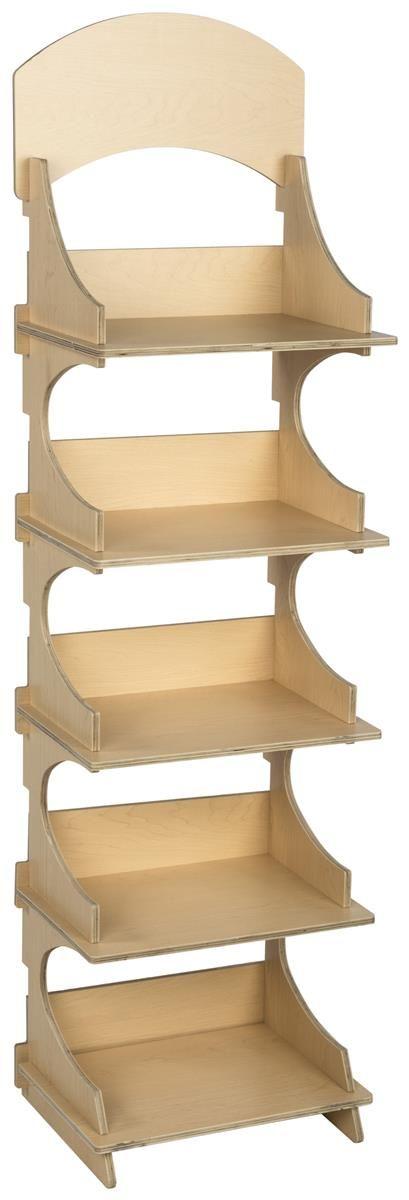 "18.125""w Wooden Retail Shelving Unit w/ 5 Shelves, Knock Down Design – Plywood"