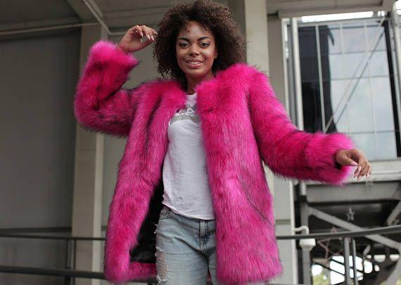 Bright Pink Faux Fur Coat Gy Fake, Hot Pink Faux Fur Coat Long