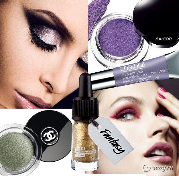 Кремовые тени для век с мерцающим эффектом Shimmering Cream Eye Color от Shiseido, оттенок Purple Dawn (1 100 руб.); Кремовые тени для век Lid Smoothie Antioxidant 8-Hour Eye Colour от Clinique, оттенок Born Freesia (1 350 руб.); кремовые тени Illusion D'ombre от Chanel, оттенок Epatant (2000 руб.);;; золотая подводка для глаз Fantasy от Lush (790 руб.)