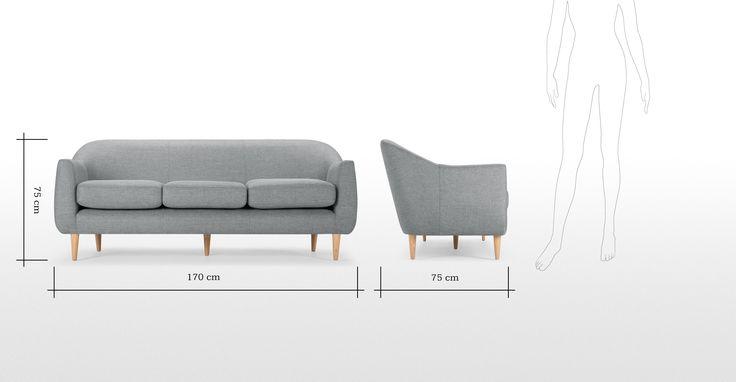 Tubby 3 Seater Sofa, Koala Grey | made.com