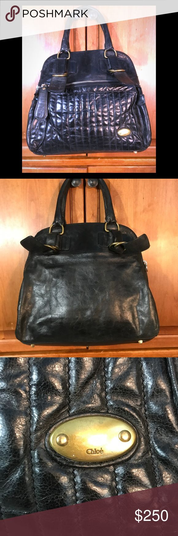 "♻️Chloe Leather oversized Handbag Chloe Premium Leather Black oversized Handbag with exterior Big Zip Pocket and interior Pockets, Zip Closure   100% Authentic   One of the leather Zipper Tags needs the metal replaced (see last pic)   Other then that the bag is in good Condition and has a lot of life left  Retails - 4,000  Measurements  17"" W 13"" L 6"" Straps Chloe Bags Shoulder Bags"