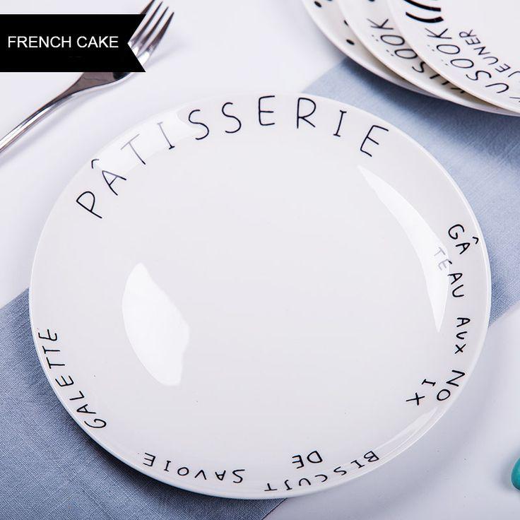 Северо-Европейский Стиль Творческий Тарелки 8 * дюймовый Костяного Фарфора Пластины Письма Белые Керамические Суши Салат Блюда, Тарелки