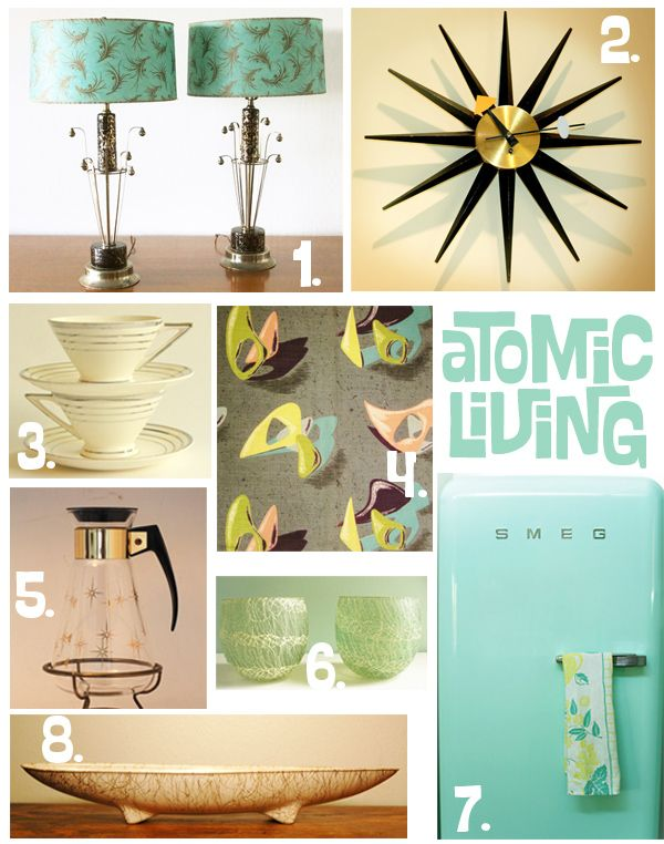 Atomize your home! Atomic Patterns, Starburst Clock, Aqua Lamp Shades, Boomerang Patterns | Oh So Lovely Vintage