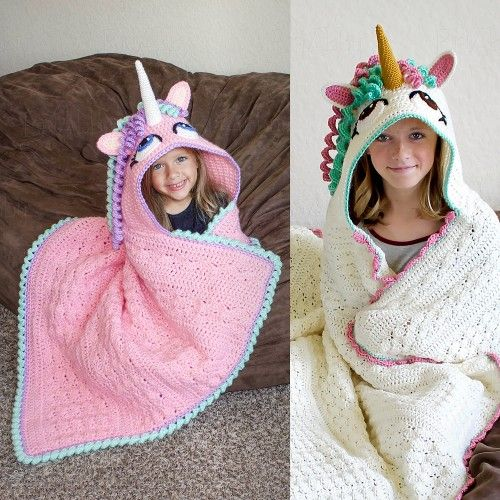 Hooded Unicorn Blanket This crochet pattern is available from Ravelry... Full Post: Hooded Unicorn Blanket