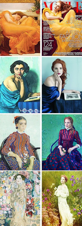Jessica Chastain Imitating Art by Annie Leibovitz. Frederic Leighton's Flaming June, Félix Vallotton's Le Retour, Vincent van Gogh's La Mousmé, Gustav Klimt's Ria Munk