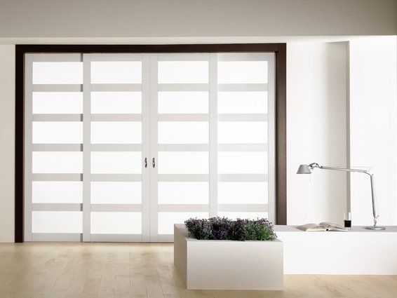 Modern Interior Sliding Door Featuring Matte Lacquer With Frosted Glass  Sliding Panel