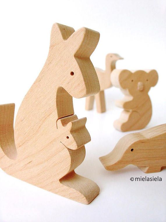 Handmade wooden toy set Australian animals  Our toys are safe, ecological, natural and long lasting. Simple design, playful and small size figures are perfect for little hands to hold and use in play.  We want our toys to help kids to familiarise with the world that surrounds them and when